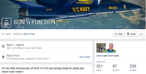 A Facebook Event created for the 40th anniversary of SUN 'n FUN.